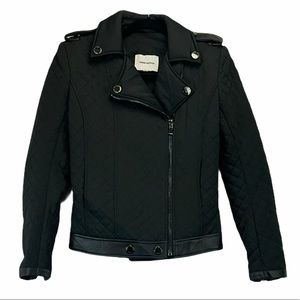 Pierre Balmain Quilted Moto Jacket Black